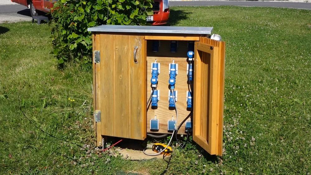 einfache, aber gut zu bedienende Stromentnahmestelle