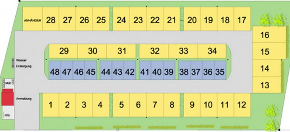 Stellplatzübersicht (Gelb=Komfortstellplätze, Grau=Classic Stellplätze)